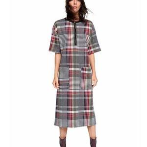 Zara Plaid Houndstooth Long Midi Dress Size Medium